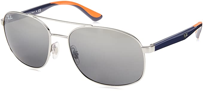 24f5e32eeb Image Unavailable. Image not available for. Color  Ray-Ban Men s 0rb3593  Non-Polarized Iridium Square Sunglasses SILVER 58 mm