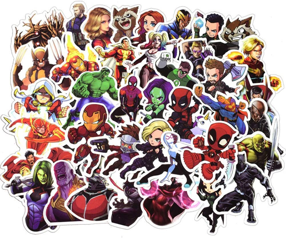 50 Pcs Superhero Stickers Marvel Hero Theme Waterproof Skins Decals for Hydro Flask Laptop Luggage Skateboard Water Bottles Bicycle Guitar Phone Sticker for Boys Children