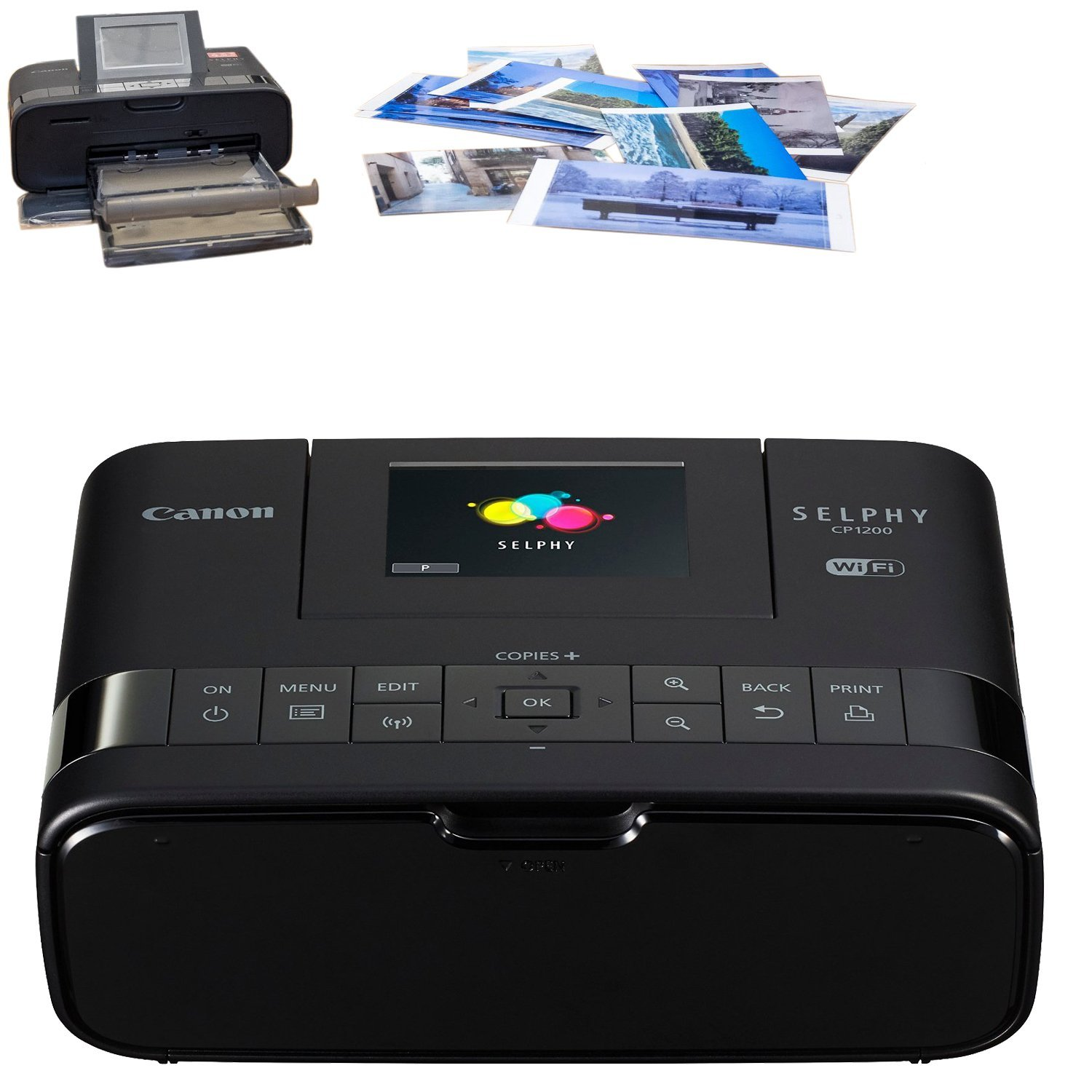 Canon Selphy CP1200 Wireless Color Photo Printer (Black) + USB Printer Cable + HeroFiber Ultra Gentle Cleaning Cloth by HeroFiber (Image #3)