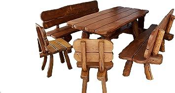 Amazonde Rustikale Gartengarnitur Aus Massivholz Gartenmöbel Aus
