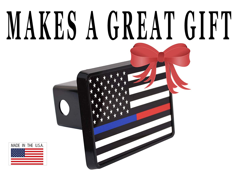 Thin Blue Red Line Lives Matter Flag Trailer Hitch Cover Plug US Police Officer Firefighter Flag