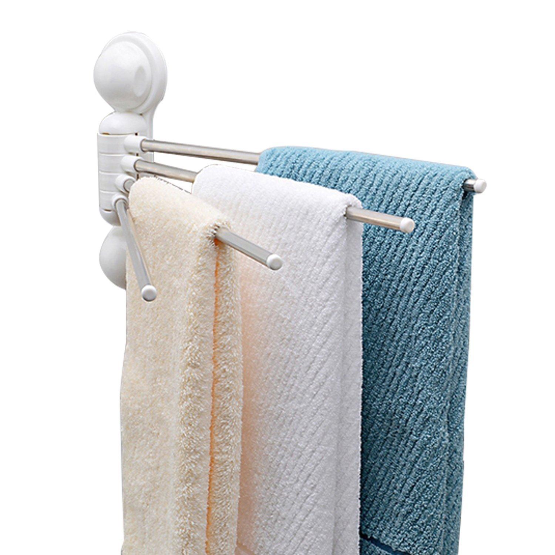 4 mobile Montaggio senza foratura qobobo/® Porta asciugamani daspirazione acciaio inox