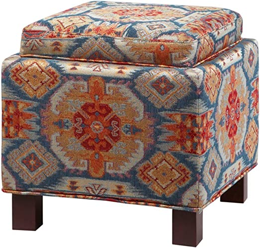 ModHaus Living Modern Square Upholstered Storage Ottoman with 2 Accent Pillows and Wood Legs in Espresso Finish – Includes Pen Ikat Print