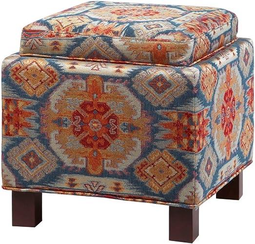 ModHaus Living Modern Square Upholstered Storage Ottoman