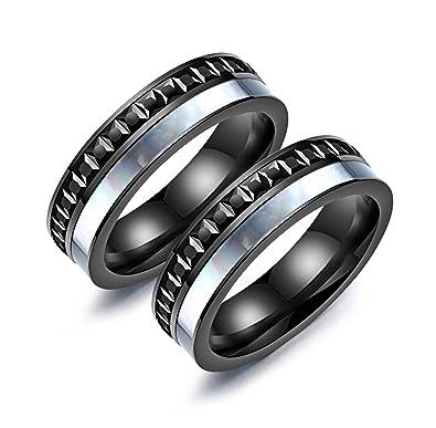 Amazon.com: bishilin 2 piezas Gay pareja anillo de acero ...