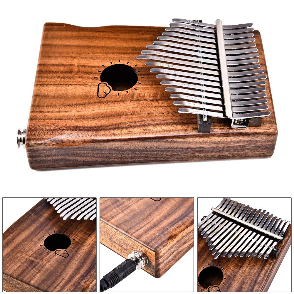 hAohAnwuyg Kalimba, Orchestral Instrument,Muspor Sun Cloud Pattern 17 Key EQ Electric Pickup Wooden Kalimba Thumb Piano