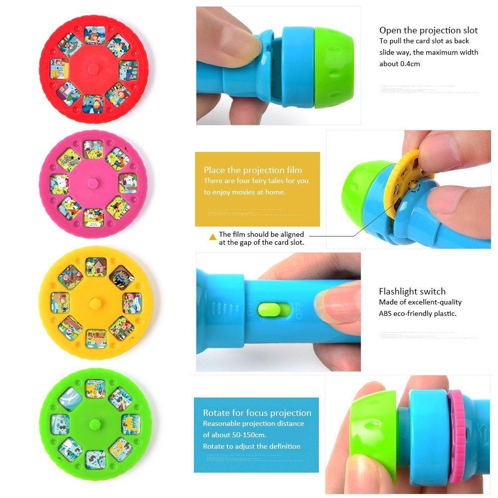 Juego de linterna de proyección infantil, de XGZ, con 4 temas y 32 tipos de patrones (pilas de botón incluidas).: Amazon.es: Iluminación
