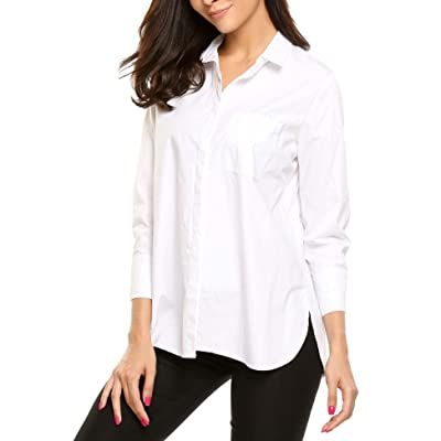 Soteer Women's 3/4 Sleeve Button Down One Pocket Stretch Shirt