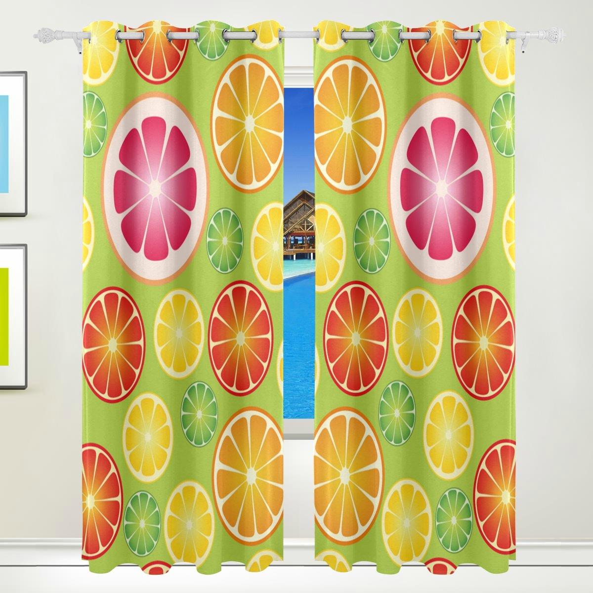 Vantaso Light Shading Window Curtains Fresh Fruit Lemon Orange Slice Seamless Polyester 2 Pannels for Kids Girls Boys Bedroom Living Room 84 inch x 55 inch