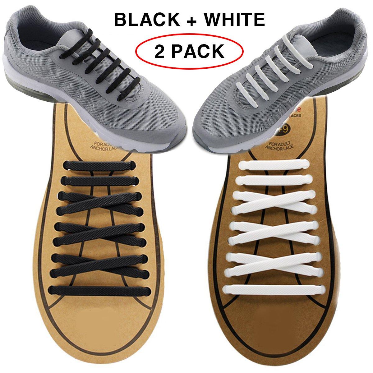 Extra No Tie Shoelaces for Men and Women – Bestのスポーツファン – 防水シリコンゴムフラットAthletic Running Shoe Lacesマルチカラースニーカーブーツボードの靴およびカジュアル B076TBGR1F ブラック+ホワイト ブラック+ホワイト