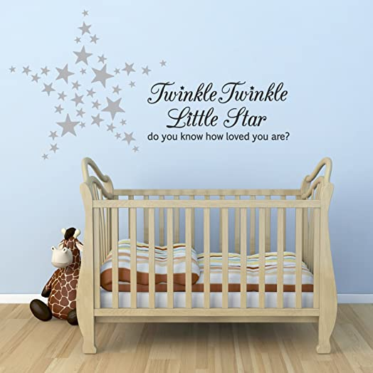 Twinkle Twinkle Little Star Wall Sticker With 60 Silver Star Stickers Part 46
