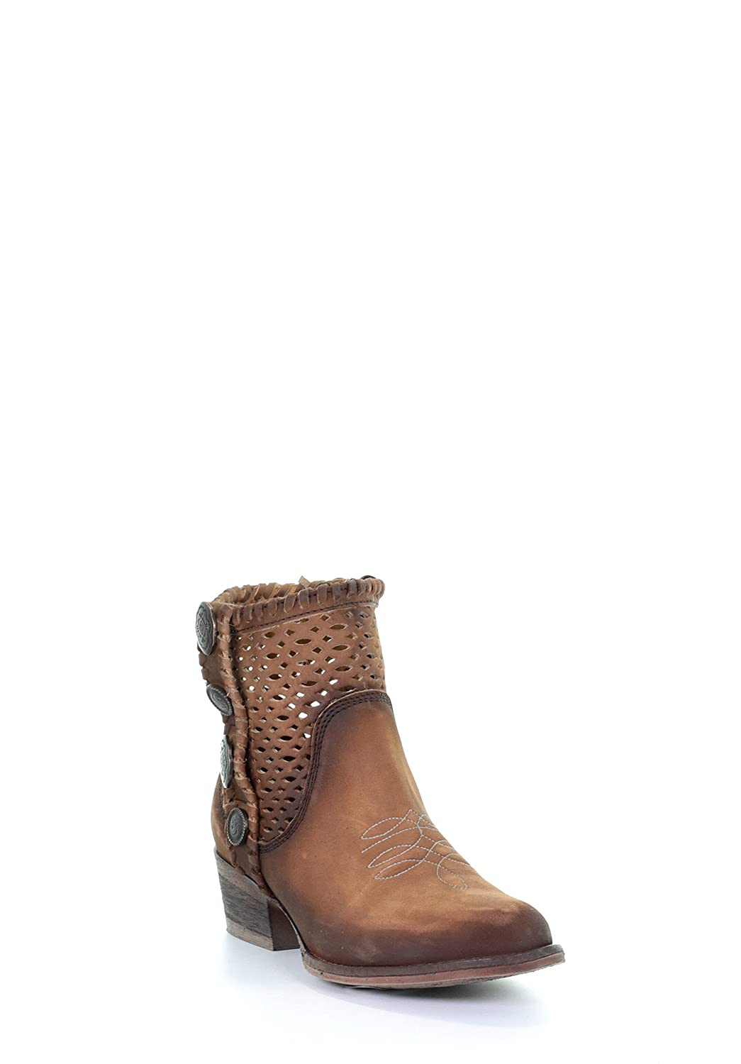 Circle G Women's Cutout Studs Round Toe Leather Western Ankle Cowboy Boots - Chocolate Chocolate