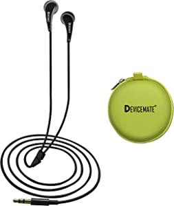 in-Ear Wired Earbuds Durable Earphones Headphones_Best Ear Buds Ear Phones for Cell Phone Smartphone Tablet MP3 MP4 CD DVD Player Laptop Notebook Computer. Earphone Case [Lm Green] DEVICEMATE SD 255