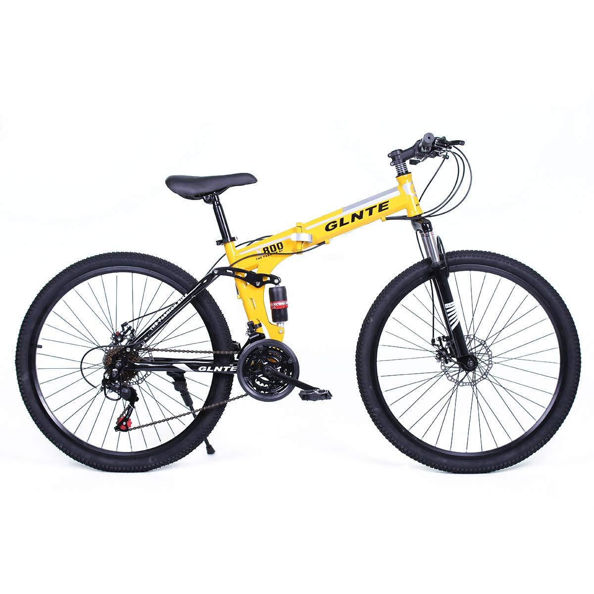 Riscko Bicicleta Mountain Bike Plegable de Aluminio Modelo Adventure con Amortiguador, Ruedas de 26'' y 21 Cambios Shimano (Amarillo - Negro) Grupo K-2