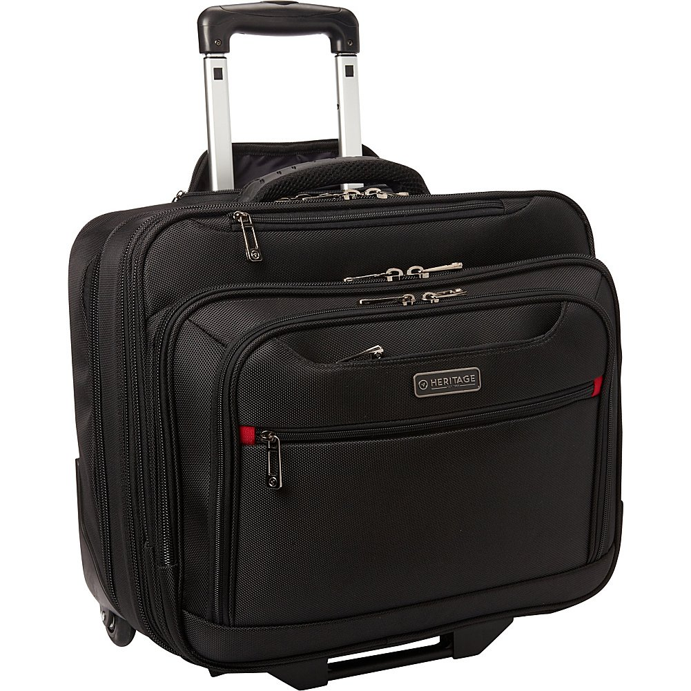 Heritage Travelware Streeterville 1680d Polyester Triple Compartment Top Zip Laptop Portfolio Overnighter, Black 830595