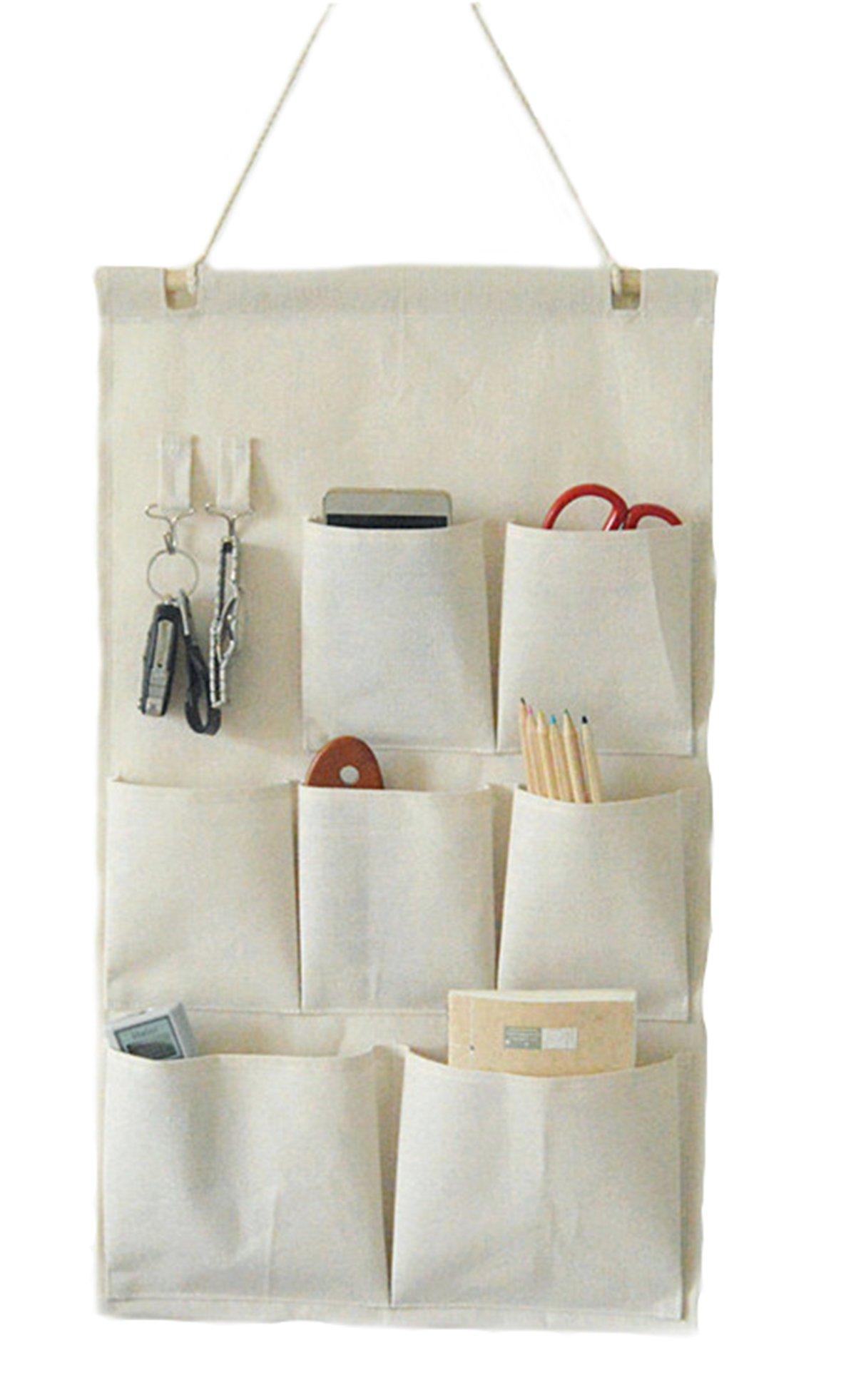 CaLeQi Linen/Cotton Fabric Wall Door Closet Hanging Storage Bag Case (7 Pockets)