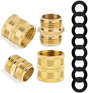 Garden Hose Adapter Kit, 3/4 Inch Solid Brass Garden Hose Quick Connectors Adapters, Male to Male, Female to Female, Easy Connect & Disconnect Adapters,Garden Hose Fittings 4 Pack with Extra 8 Washers