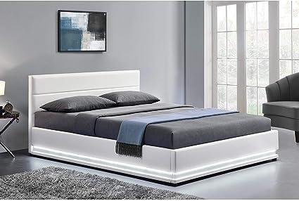 LOdin -Estructura de cama en piel sintética, con canapé abatible, somier y luces led integradas, de 140 x 190 cm