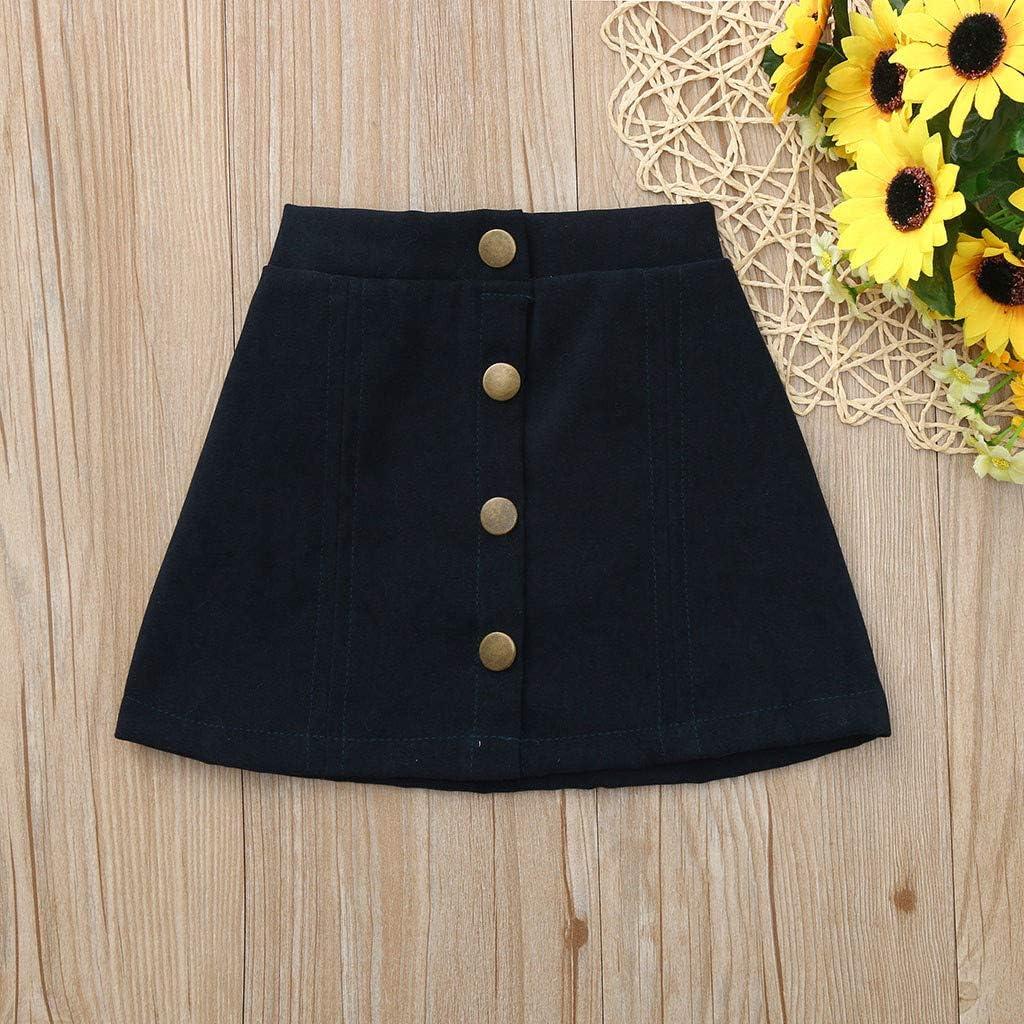 Baby Girl Skirt,Fineser Baby Girls Botton Solid Skirt Beach Skirt Sun Skirt for Toddler Skirt Age 1-5 Years