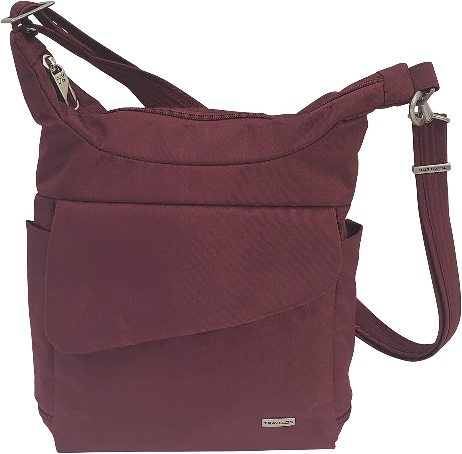 Travelon Anti-Theft Messenger Bag (Wine/Coral Lining)