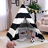 AniiKiss Giant Canvas Kids Teepee Play Tent, Black Stripes