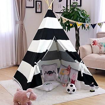 AniiKiss Giant Canvas Kids Teepee Play Tent Black Stripes & Amazon.com: AniiKiss Giant Canvas Kids Teepee Play Tent Black ...