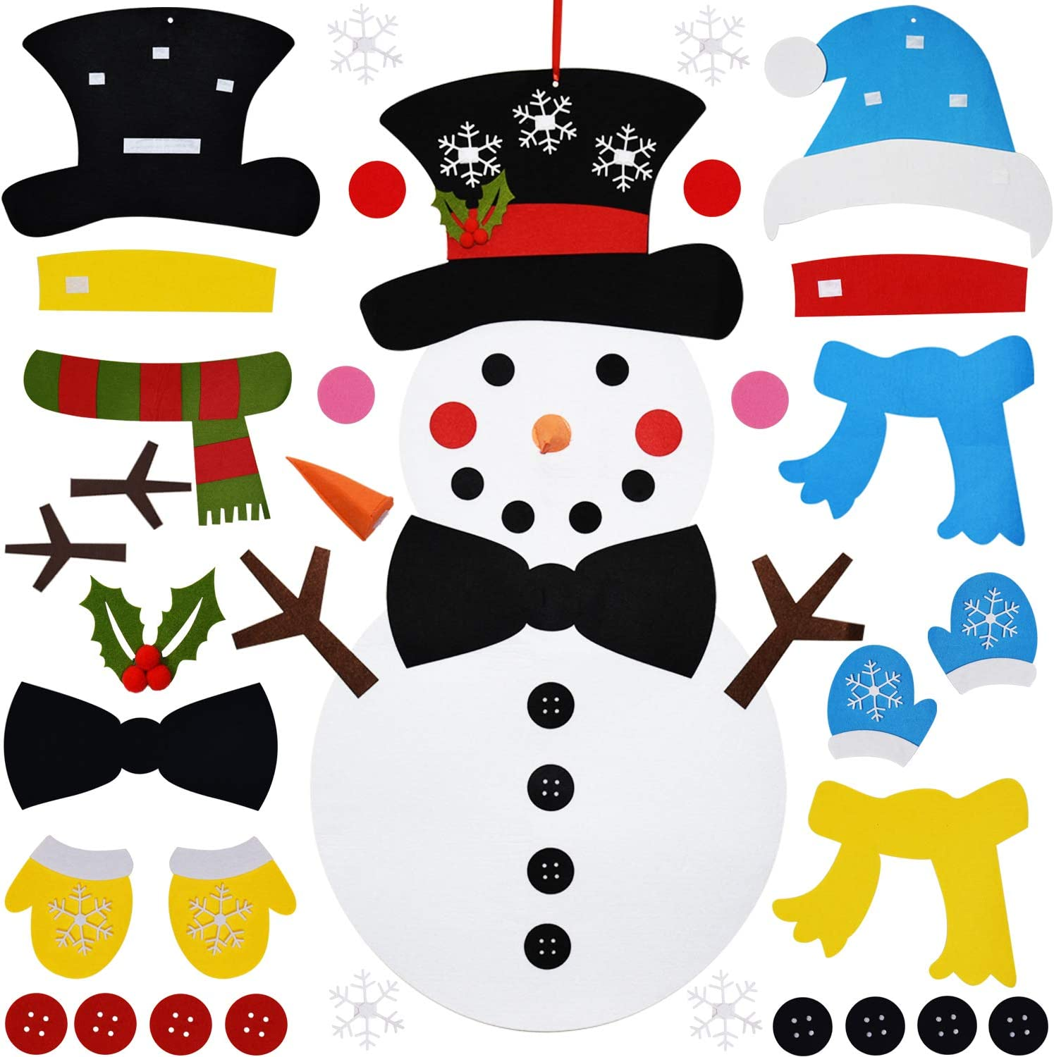 THAWAY DIY Felt Christmas Snowman with 38 Pcs Detachable Ornaments, Xmas Gifts for Kids New Year Handmade Christmas Door Wall Hanging Decorations
