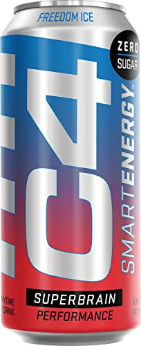 C4 Smart Energy Sugar Free Sparkling Energy Drink Freedom Ice Performance Fuel Nootropic Brain Booster Supplement