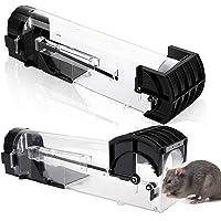 VINNAR Muizenval levend, 2 stuks muizenvallen voor tuin en huis, rattenval met lokstof, herbruikbaar en diervriendelijk…