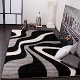 Designer Teppich mit Konturenschnitt Wellen Muster Schwarz Grau Weiss, Grösse:160x230 cm