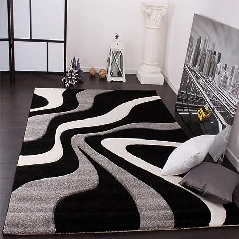 Paco Home Tapis De Créateur Aux Contours Découpés Motif Vagues en Gris Noir  Blanc, Dimension:80x150 cm
