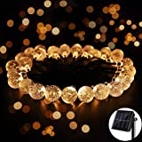8 Modes Solar Globe String Lights, Ankway 20ft 30 LED Outdoor String Christmas Lights Crystal Ball for Garden Path Home Bedroom Indoor Outdoor Christmas Decorations Warm White