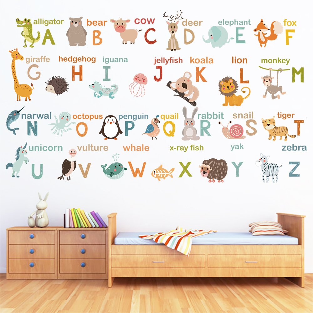 decalmile Alphabet ABC and Animals Wall Decals Classroom Kids Room Wall Decor Removable Wall Stickers for Kids Bedroom Nursery Baby Room by decalmile (Image #4)