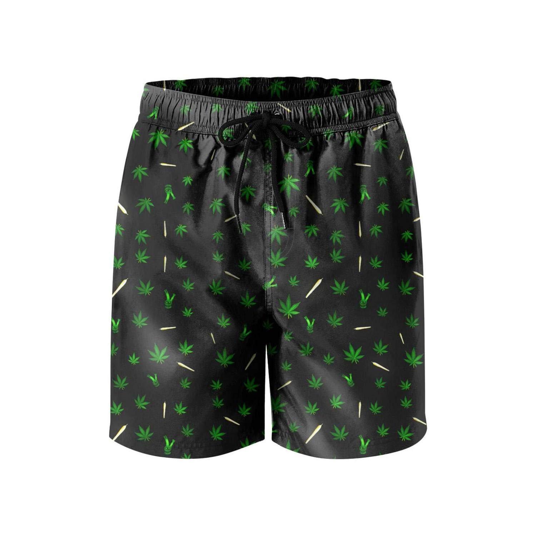 Microfiber Green Weed Side Split Swim Mens Shorts Adjustable