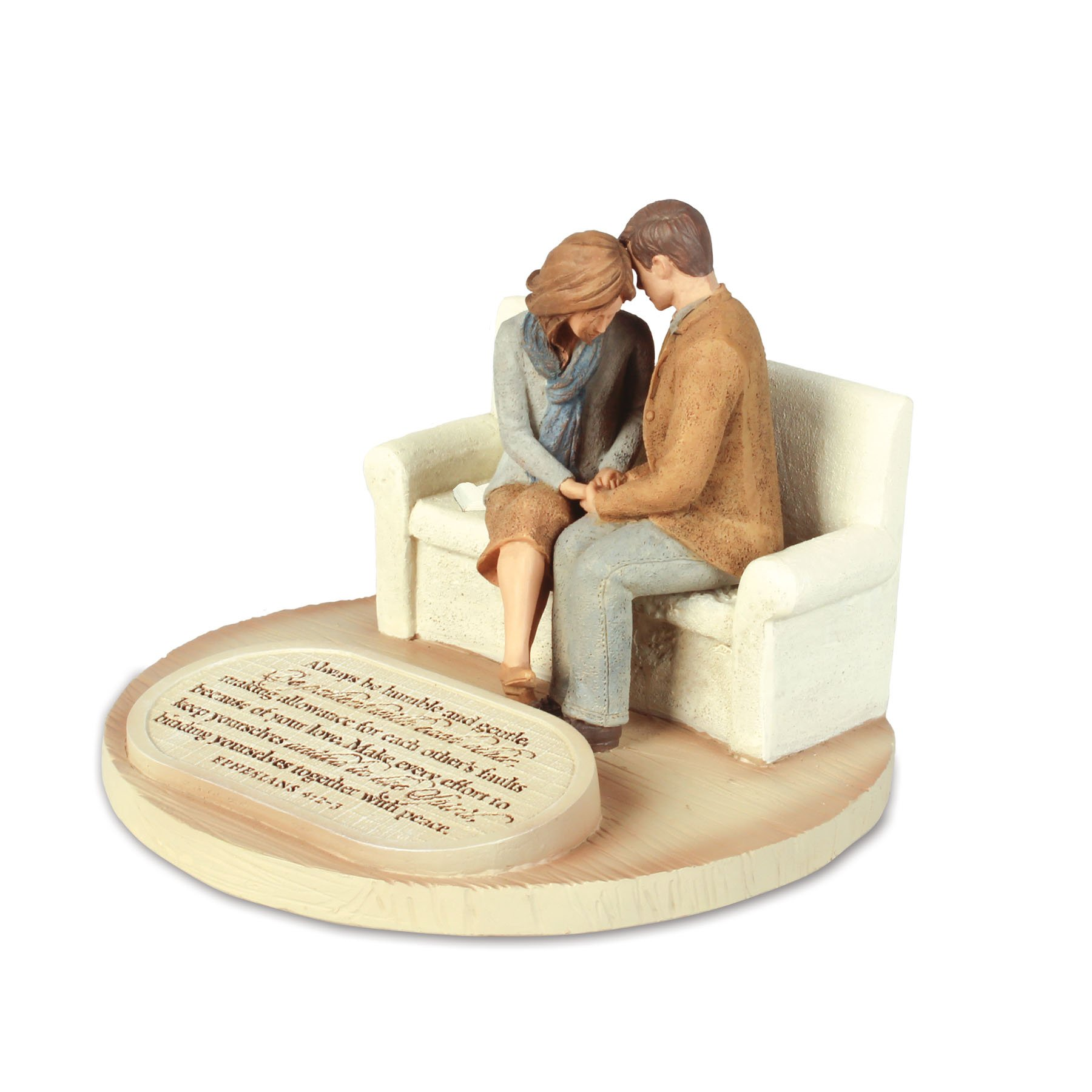 Lighthouse Christian Products Devoted Praying Couple Sculpture, 6 x 6 x 4 1/2''