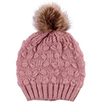 Oenbopo Female Warm Soft Knit Wool Beanie Cap Women's Pompom Ball Winter Hats or Family Mathing Set Optional (Color : Pink, Size : Adult's Cap(1pc)