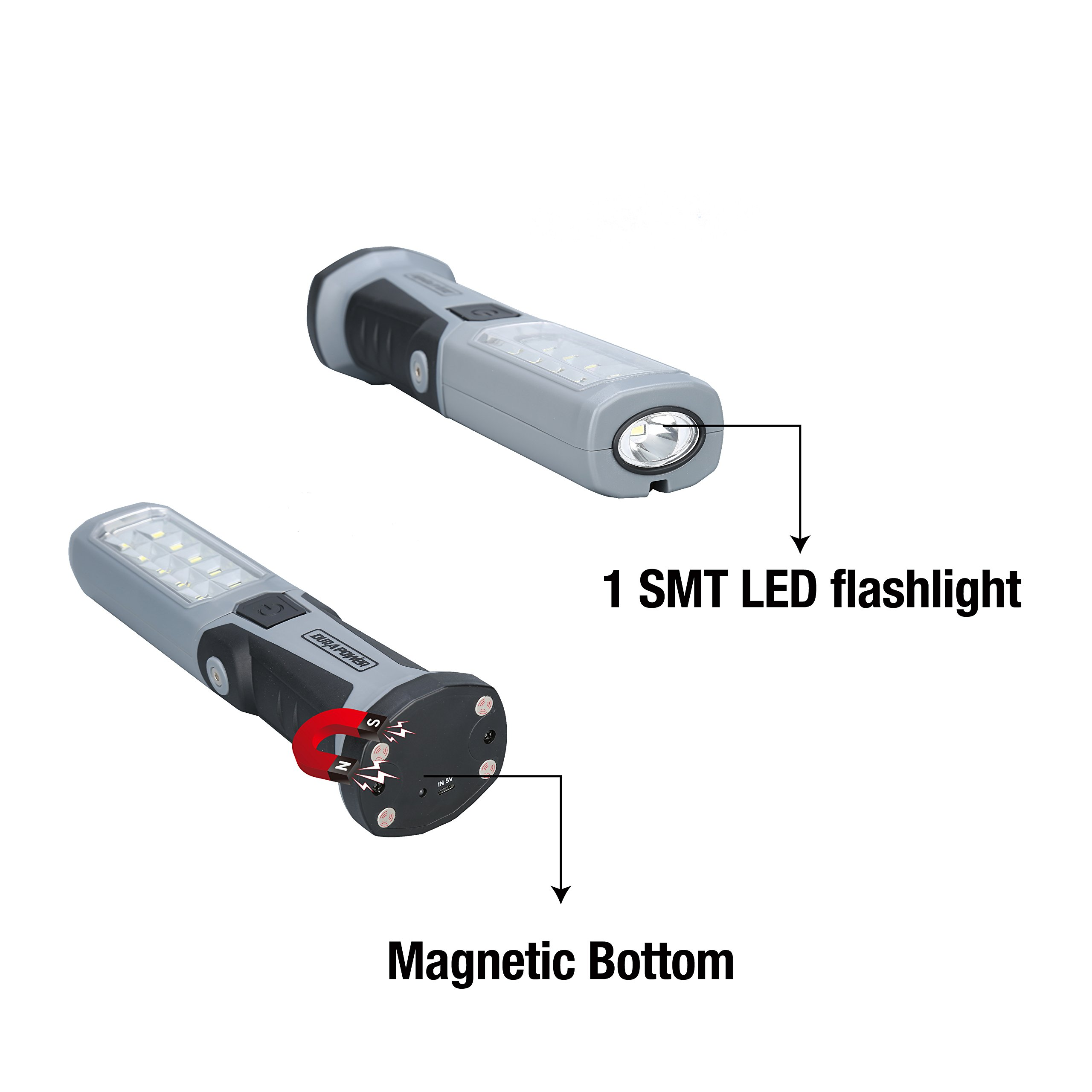 DP LED Work Light Rechargeable Hands-free Cordless Bright Flashlight With Powerful Magnetic Base Micro USB Charger 360 Degree Rotating Hook by DP (Image #4)