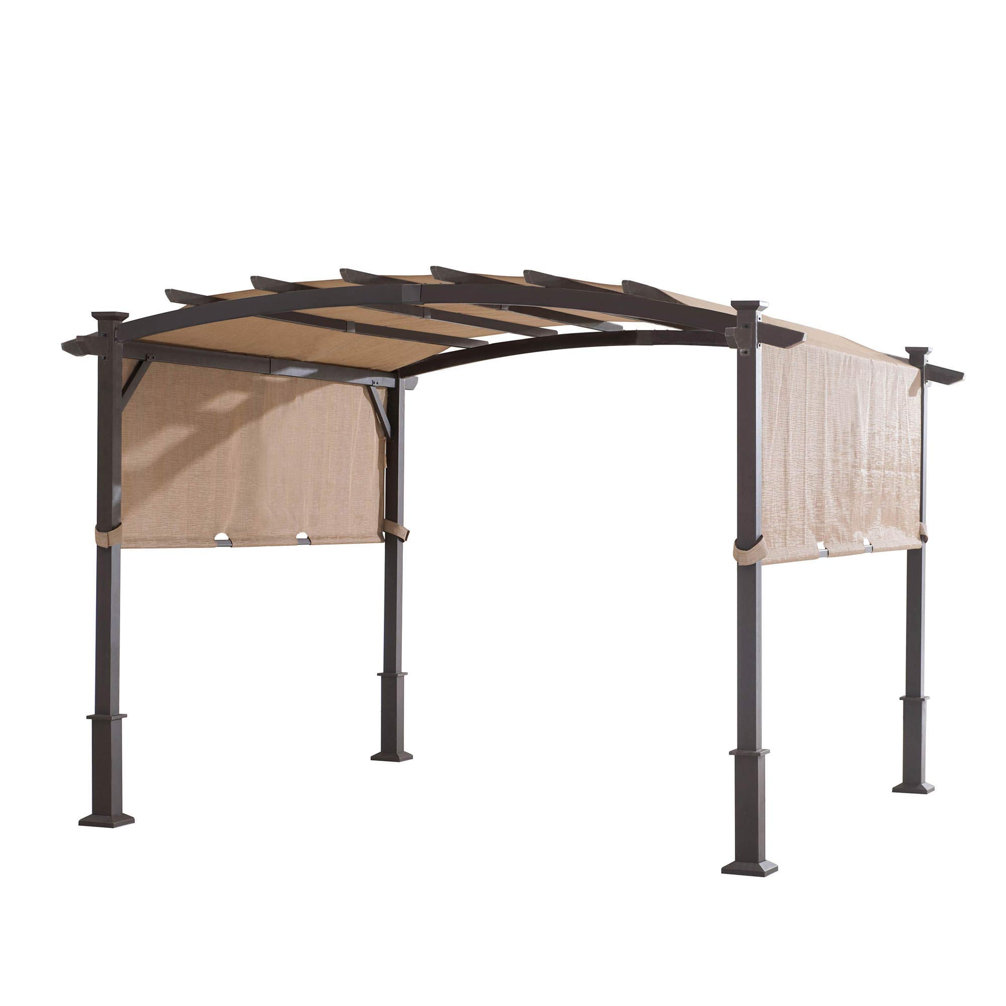 SunVilla 11' x 11' Metal Arched PERGOLA w/Sling Fabric Retractable Fabric Canopy Roof