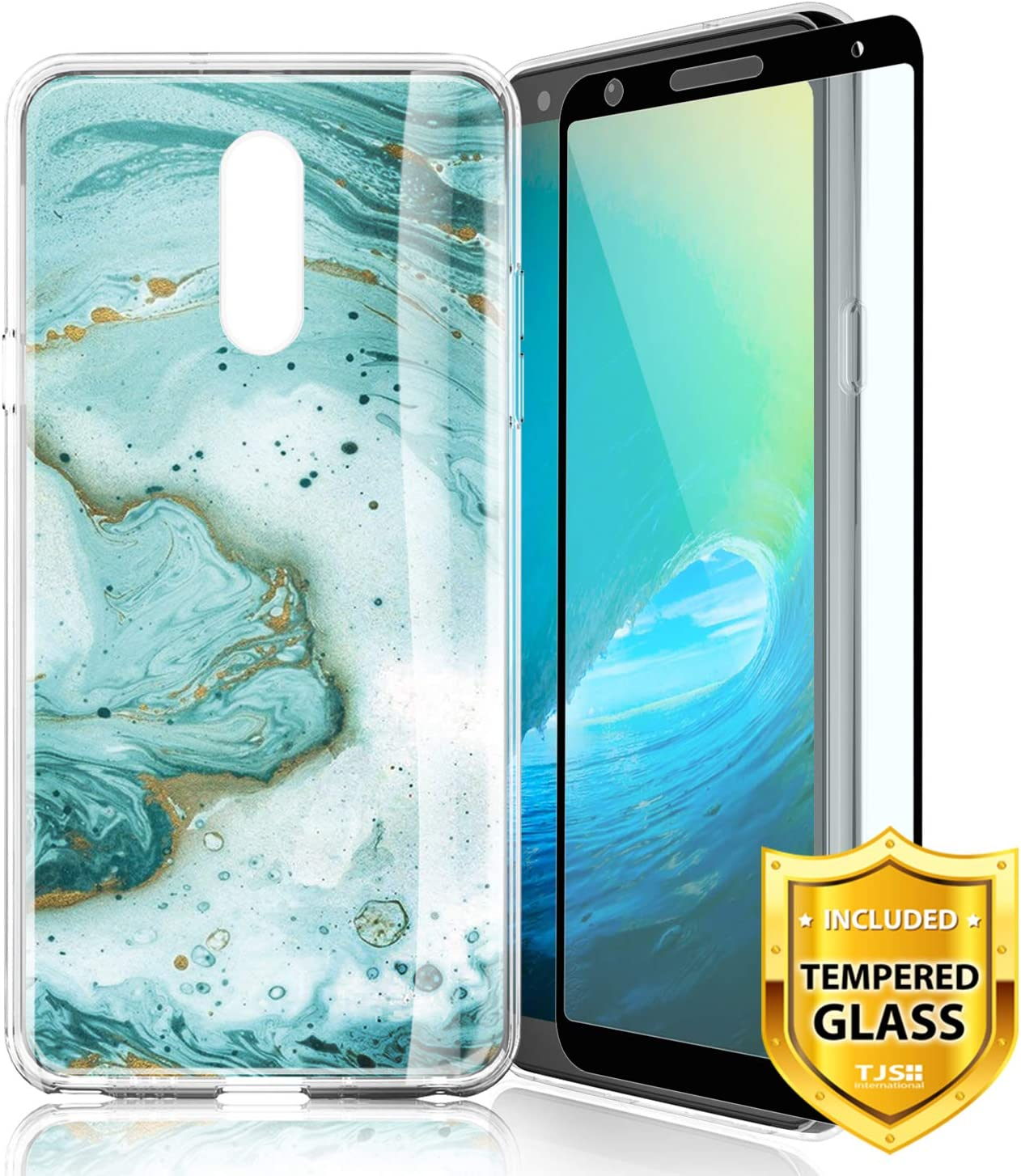 TJS Phone Case for LG K40/LG K12 Plus/LG X4/LG X4 2019/LG Solo LTE/LG Harmony 3, with [Full Coverage Tempered Glass Screen Protector] TPU Matte Color Marble Transparent Clear Soft Skin (Green)