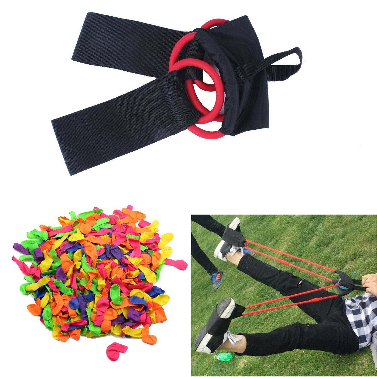 SinoArt Water Balloon Launcher 1 or 3 Person Balloon Slingshot INCLUDED 500 Balloons by SinoArt