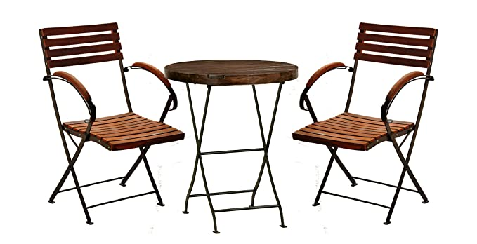 Patio Furniture Set. 2 Folding arm Chair & 1 Solid wood Round Table for outdoor garden patio balcony and garden or patio area