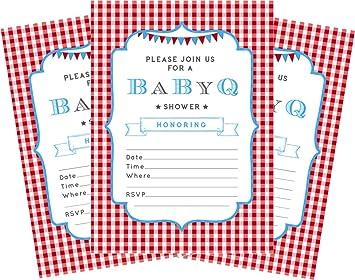 Amazon Com Bbq Blue Baby Boy 5x7 Baby Shower Invitations 24