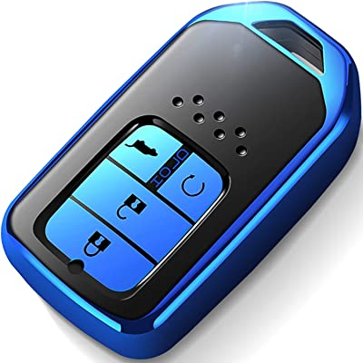 Intermerge for Honda Key Fob Cover,Key Fob Case for Honda Accord Civic Pilot Odyssey CRV Clarity Fit 4 Buttons Smart Remote Premium Soft TPU Honda Key Cover (Blue): Automotive