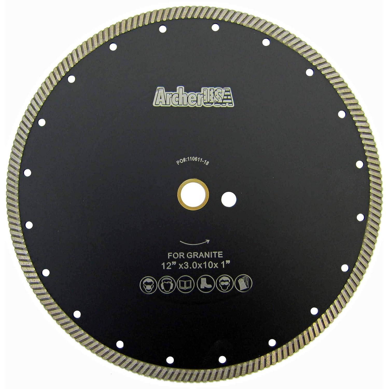 Stone Counter-top slabs Masonry Archer PRO .7 in Diamond Bore Narrow Turbo Rim Diamond Blades for Cutting Granite
