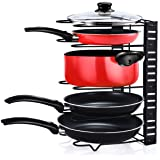 Pot Organizer Cookware Holder Foldable - 5 Compartments - Shelf For Cutting Board Bakeware Lid Cookie Sheet Pantry