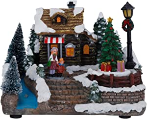 Christmas Village Luxury House Decor House Figurine Collectable Resin Christmas Scene Village Houses Town with Warm Colorful LED Light, Building Luminous Figurines Tree Tabletop Ornaments