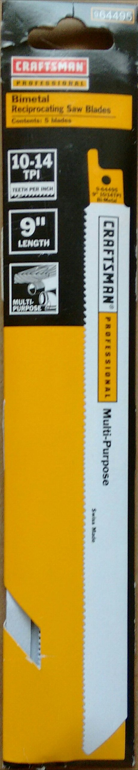 Craftsman Professional 9 in. 10-14 TPI Reciprocating Saw Blades 5 pc, multi purpose, Made in Switzerland 9-64495