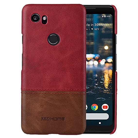 size 40 7892f 64b4d Google Pixel 2 XL case,Two Colors Vintage Genuine Leather Back Cover for  Google Pixel 2 XL (2017) (Red)