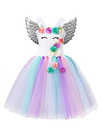 d913c6b9f7495 Unicorn Tutu Party Dress for Girls - Flower Pageant Princess Costume with  Headband and Wings