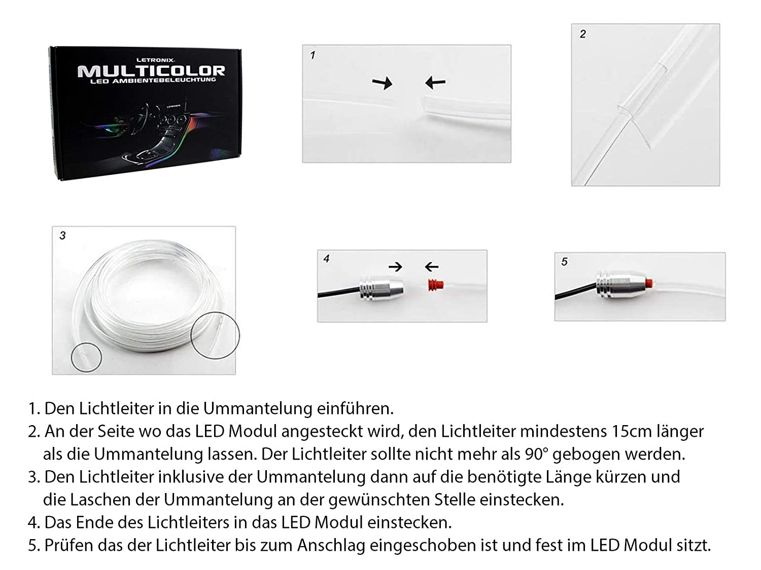 LETRONIX 4 LED Module LETRONIX RGB LED Ambientebeleuchtung 4 LED Module 6M Lichtleiter mit Bluetooth App Steuerung Auto Innenraumbeleuchtung El-Wire